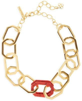 Oscar de la Renta Goldtone & Carnelian Elongated Octagon Link Choker Necklace