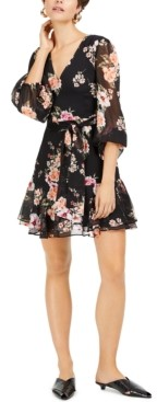 Bar III Floral-Print Blouson-Sleeve Fit & Flare Dress, Created for Macy's
