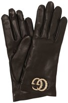 Gucci Leather Gloves W/ Gg Imitation Pearls