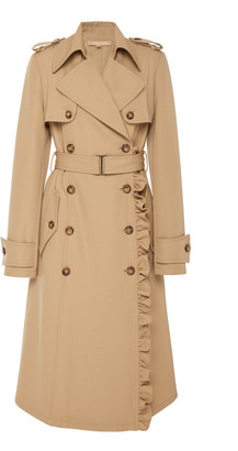 Michael Kors Ruffled Wool-Gabardine Trench Coat