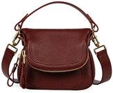 Tom Ford Jennifer Mini Grained Leather Shoulder Bag, Dark Red