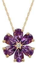Macy's Amethyst (2-1/10 ct. t.w.) & White Topaz Accent Flower Pendant Necklace in 14k Gold
