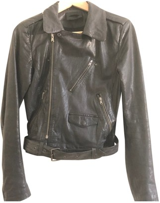 Diesel Black Gold Black Leather Leather Jacket for Women