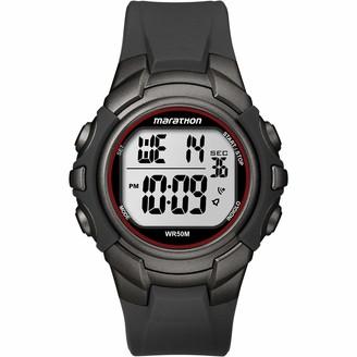 Timex Marathon by Men's T5K642 Digital Full-Size Gunmetal Gray/Red Resin Strap Watch