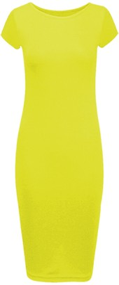 Candid Styles New Womens Ladies Cap Sleeve Stretch Plain Bodycon Midi Maxi Dress 8-26 M/L 12-14