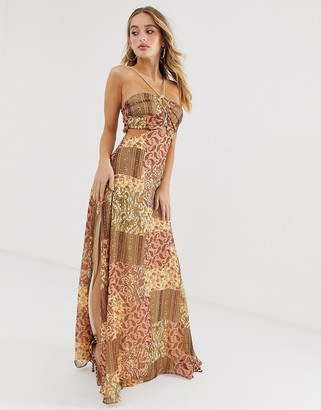 Asos DESIGN maxi dress in crinkle chiffon with rope trim bodice detail in scarf print