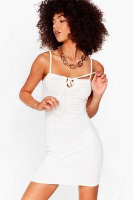 Nasty Gal Womens Recycled Don't Tie Stop Us Ribbed Mini Dress - White