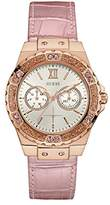 GUESS Women's U0775L3 Sporty Rose Gold-Tone Stainless Steel Watch with Multi-function Dial and Pink Strap Buckle