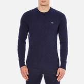 Lacoste Men's Crew Neck Cable Stitch Jumper Midnight Blue/Chine