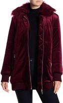 Romeo & Juliet Couture Faux Fur Collar Quilted Velvet Coat