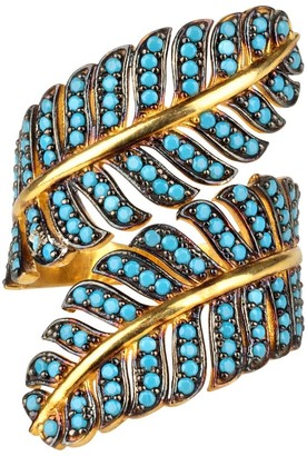 Latelita Tropical Leaf Cocktail Ring Blue Turquoise Gold