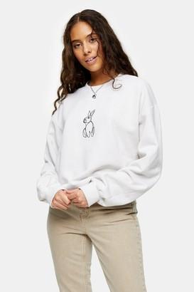 Topshop Womens Petite Stone Rabbit Line Sweatshirt - Stone