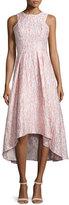 Shoshanna Sleeveless Printed High-Low Cocktail Dress, Blush