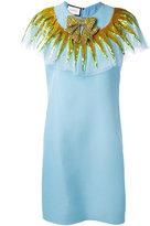 Gucci embellished neck dress - women - Silk/Wool/Polyamide/Acetate - 42