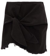 Marques Almeida Marques'almeida - Knotted Denim Mini Skirt - Womens - Black