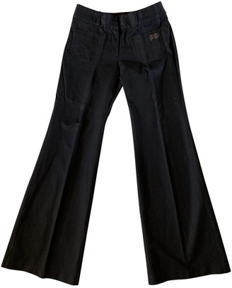 Les Prairies de Paris Black Cotton Trousers for Women