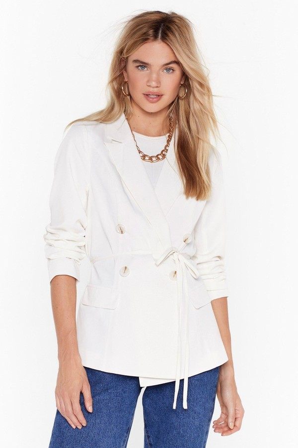 Nasty Gal Womens Something Good Can Work Tailored Belted Blazer - white - 6