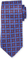 Neiman Marcus Italian-Made Geometric Silk Tie, Royal