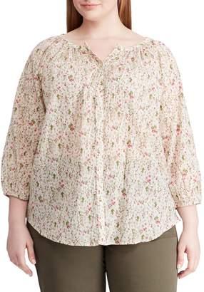 Chaps Plus Floral Raglan Sleeve Blouse