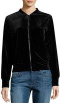 Hazel Velvet Bomber Jacket w/ Embroidered Back, Black