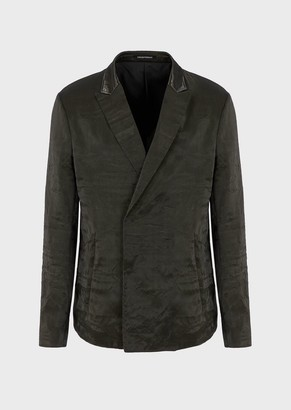 Emporio Armani Jacket With Lustrous, Water-Effect Nylon Lapels