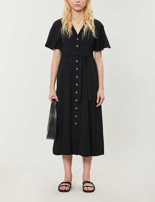 Whistles Anita frill-sleeve woven midi dress