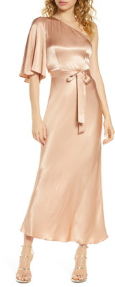 Shona Joy One-Shoulder Satin Gown