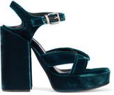 Jil Sander Velvet Platform Sandals - Teal