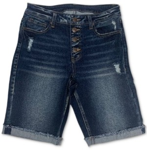 Vanilla Star Juniors' Ripped High Rise Button-Fly Denim Bermuda Shorts