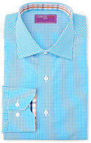 Lorenzo Uomo Aqua & White Trim Fit Check Dress Shirt
