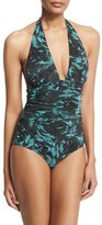 Fuzzi Rose-Print Ruched Halter One-Piece Swimsuit