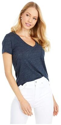 Madewell Whisper Cotton V-Neck Pocket Tee (True Black) Women's Clothing