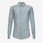 Bally Silk Gingham Print Shirt Blue, Men's silk shirt in multi-ocean spray
