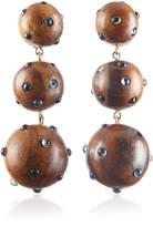 Rebecca de Ravenel Classic Three Drop Dark Wood and Denim Earrings