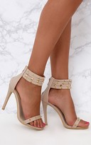 PrettyLittleThing Nude Studded Strap Cuff Heels