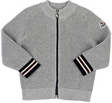 Moncler Waffle-Knit Cotton Zip-Front Sweater