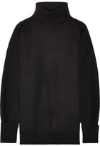 Maison Margiela Nubuck-trimmed Ribbed Wool-blend Turtleneck Sweater - Black