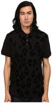 Just Cavalli Short Sleeve Pique Polo w/ Flocked Leopard