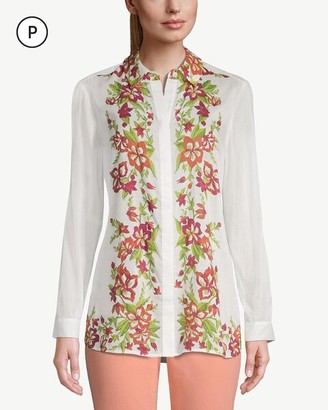 Chico's Petite Flower-and-Vine-Trimmed Button-Down Shirt