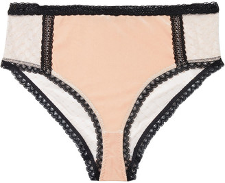 Stella McCartney Ally Indulging Lace-trimmed Stretch-velvet And Point D'esprit Mid-rise Briefs