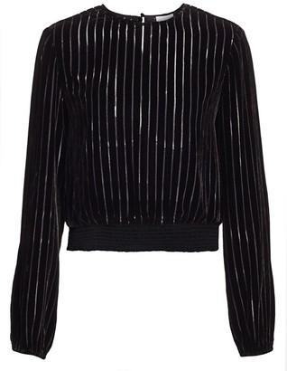 CAMI NYC Robyn Velvet Long-Sleeve Stripe Blouse