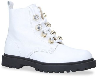 Florens Leather Crystal Combat Boots