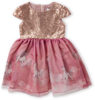 Little Angels (Toddler Girls) Sequin Unicorn A-Line Dress