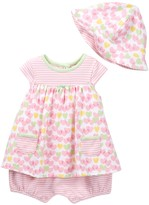 Offspring Heart Popover Bodysuit Dress & Hat Set (Baby Girls)
