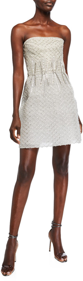 Monique Lhuillier Embroidered Tulle Strapless Dress
