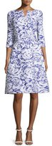 Oscar de la Renta Floral 3/4-Sleeve A-Line Dress, Blue Violet/White
