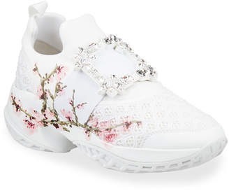 Roger Vivier Viv' Run Crystal Flower Sneakers