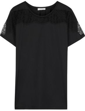 Nina Ricci Chantilly Lace-paneled Cotton-jersey T-shirt