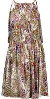 Just Cavalli Draped Wrap-Effect Printed Stretch-Jersey Mini Dress