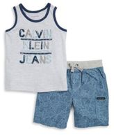 Calvin Klein Jeans Little Boys Logo Tee and Geometric Print Shorts Set